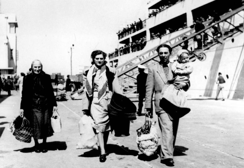 March 1951, Family from Romania, after Disembarking from an Immigrant Ship, Israel