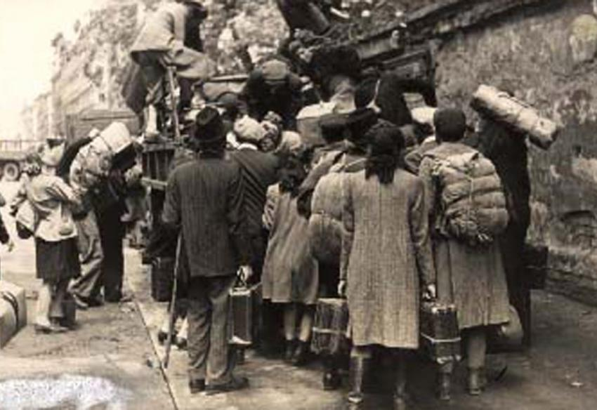 After Liberation, Jewish Survivors Boarding Trucks of the Bericha Movement, on Their Way to Israel