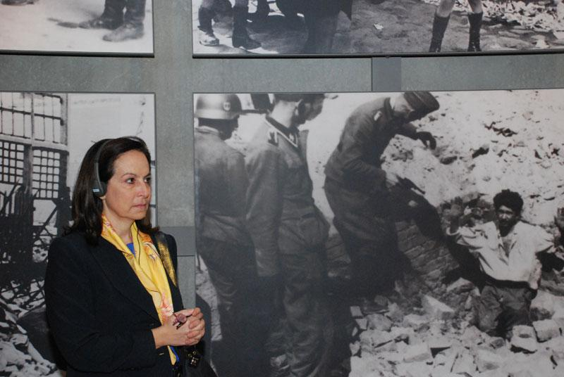 Anna Diamantopoulou at the Yad Vashem Holocaust History Museum