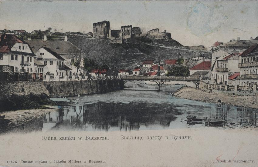 Buczacz, 1907. The ruins of the medieval castle above the city and the Strypa River.