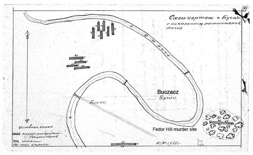 Sketch from May 21, 1945, illustrating murder sites of Buczacz Jews GARF 7021-75-371; copy YVA JM/19988