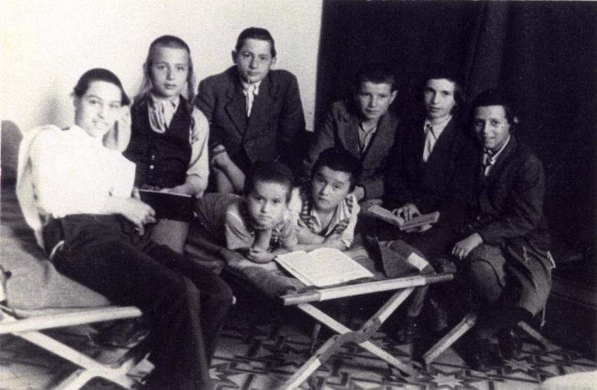 "Children at the ""Maor Hagola"" Yeshiva established by Rabbi Ephraim Oshry (of Kaunas, Lithuania) in a DP camp in Rome, Italy after WWII. Yad Vashem Archives"