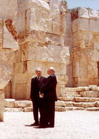 Shimon Peres and Mikhail Gorbachev at the Valley of the Communities