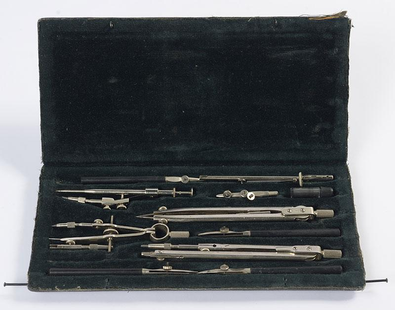 Draughtsman's instruments that belonged to Sava Prahy from Donetsk, Ukraine, killed during his military service in the Red Army