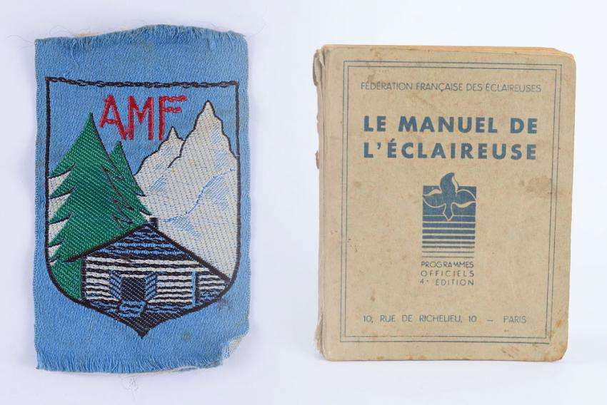 Scout handbook and cloth patch used at the children's home in Chamonix