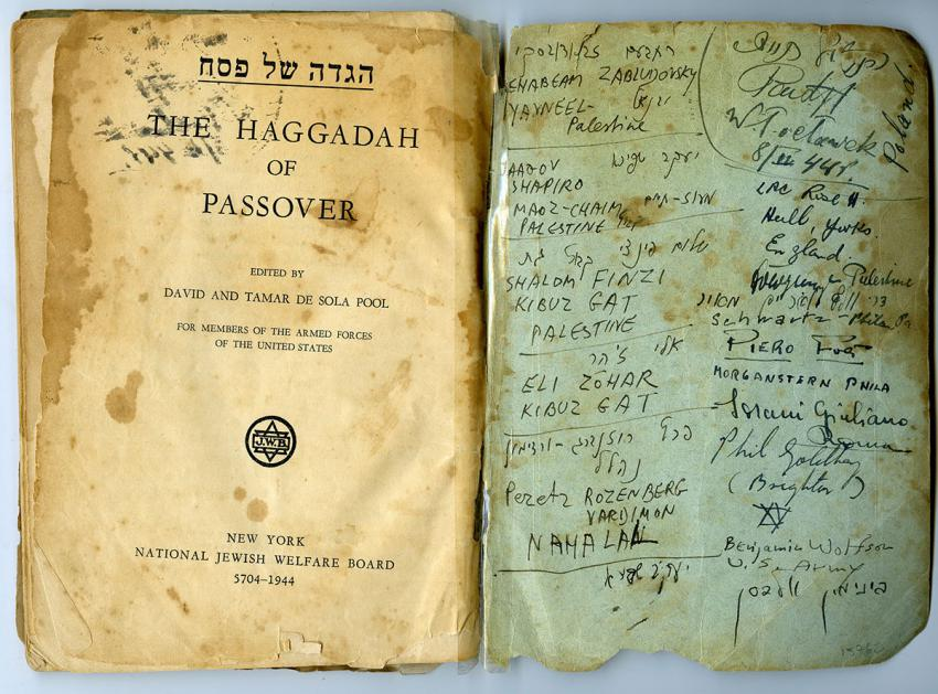 Passover Haggadah that was used by Jewish soldiers on 8 April 1944, at a Seder on a British base for soldiers from Eretz Israel in Bari, Italy