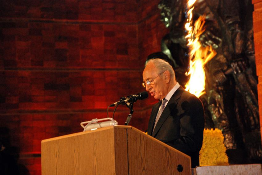 President of the State of Israel Shimon Peres speaking at the official state ceremony marking Holocaust Martrys' and Heroes' Remembrance Day