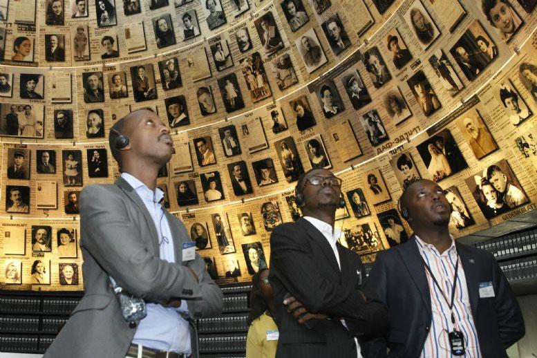 Members of the Kigali Genocide Memorial delegation in Yad Vashem's Hall of Names, where, to date, some 4.6 million individual Holocaust victims are commemorated