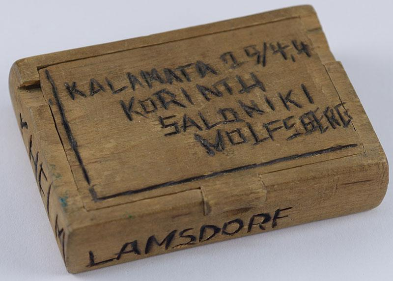 The box on which Jacob Marmorosch engraved the names of the camps through which he passed