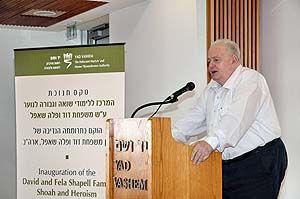 Mr. Joseph (Tommy) Lapid, Chairman of the Yad Vashem Council speaks during the ceremony