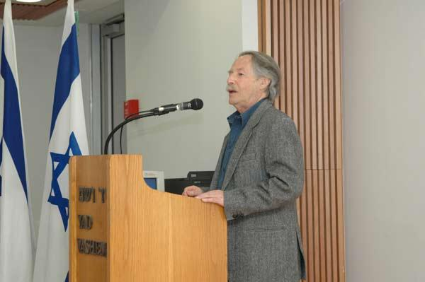 Uri Orlev, speaking at Yad Vashem