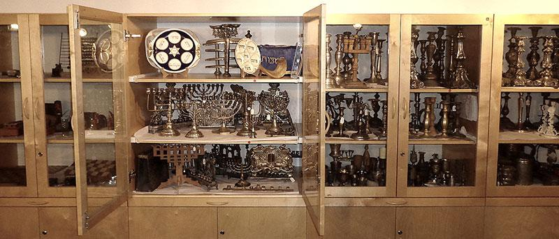 Ritual artifacts that were looted by the Nazis and recovered by the Allied forces, in the main store room of the Yad Vashem Museum