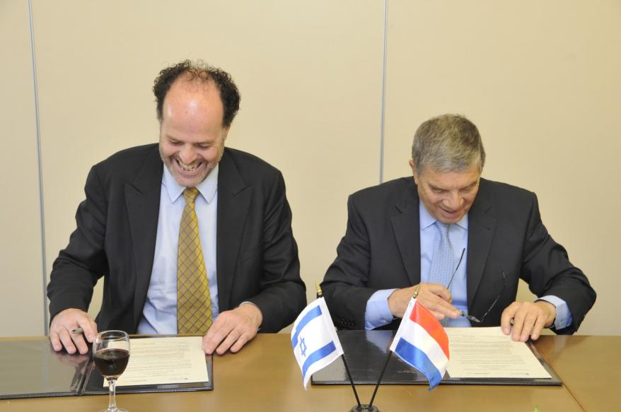 Executive Director of the Anne Frank House, Ronald Leopold and Chairman of the Yad Vashem Directorate, Avner Shalev