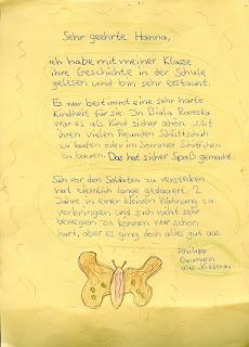 Letter from German pupil to Hannah Gofrit
