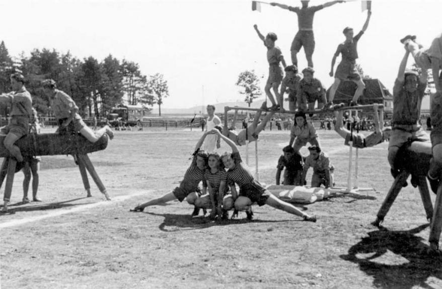 Foehrenwald, Germany, the Maccabi sports team exercising in the DP camp, postwar