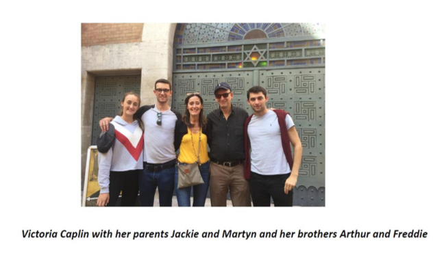 Victoria Caplin with her parents Jackie and Martin and her bothers Arthur and Freddie