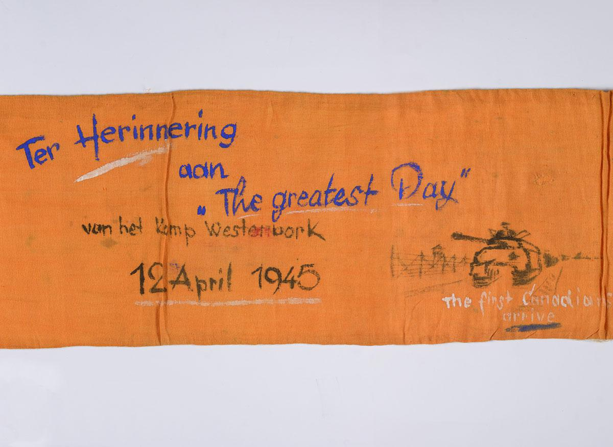 Orange sash that Jews in the Westerbork camp draped around Adrianus Van As when the camp was liberated by the Canadian Army