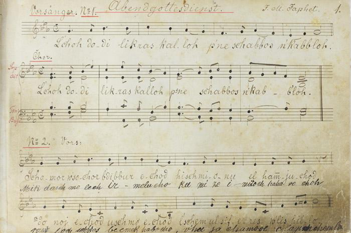 Cantor Arthur Kohn's music book, which was rescued from the ruins of the Mannheim Synagogue in Germany