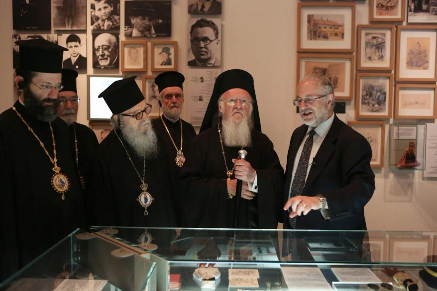 Ecumenical Patriarch Bartholomew I of Constantinople visiting the Holocaust History Museum, at Yad Vashem, guided by Dr. Robert Rozett, Director of the Yad Vashem Libraries