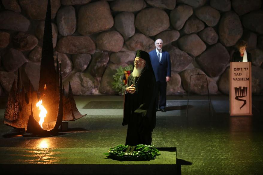 Ecumenical Patriarch Bartholomew I of Constantinople participating in a memorial ceremony in the Hall of Remembrance, Yad Vashem