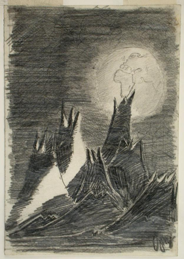 """The original """"Moon Landscape,"""" drawn by the teenage Jewish boy Petr Ginz in the Terezin ghetto, before he was murdered"""