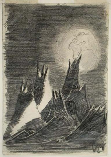 <i>Moon Landscape</i><br>The moon landscape depicted in Petr Ginz&acute;s drawing attests to his aspiration to reach a place from where the earth, which threatened his life, could be seen from a secure range