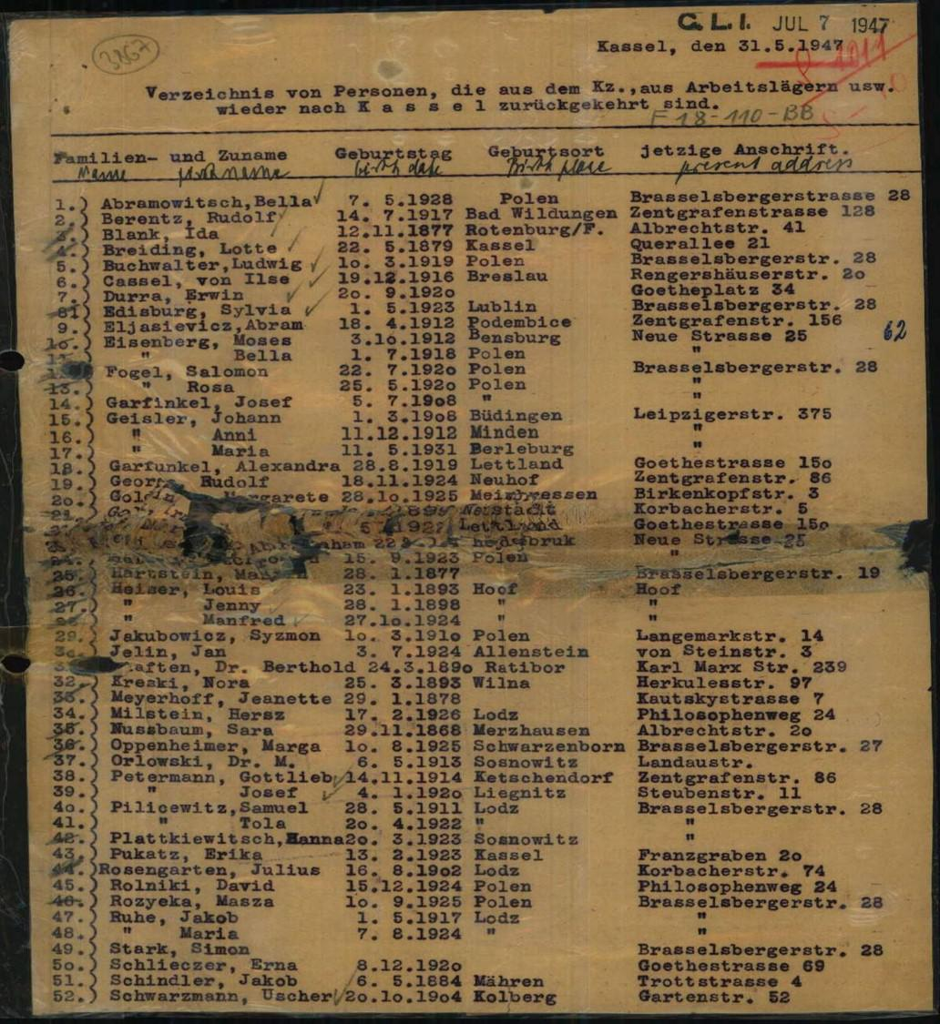 List of people who returned to Kassel from concentration camps, labor camps, etc., 31 May 1947. ITS Digital Archive, Wiener Holocaust Library, London