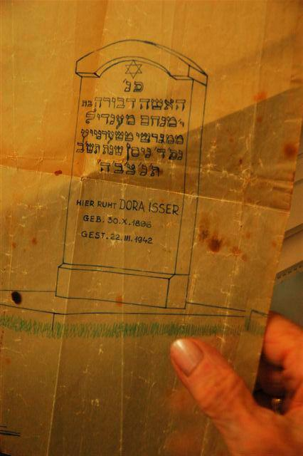 """A """"map"""" documenting Dora Isser's grave in Mogilev, that Erna donated to Yad Vashem for safekeeping"""