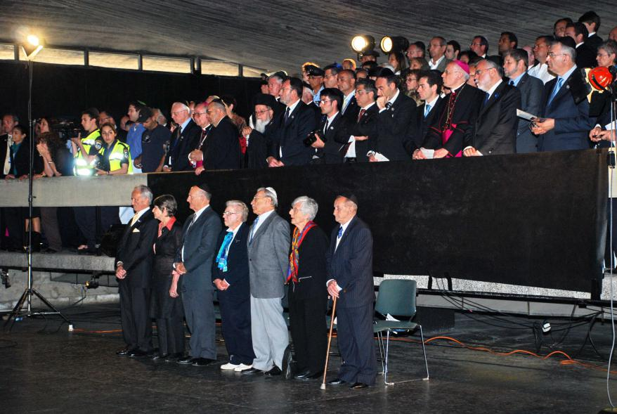 The Holocaust survivors and Righteous Among the Nations that greeted the Pope during the ceremony