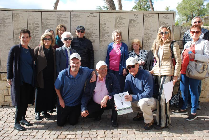Survivors of the SS St. Louis with their family members in the Garden of the Righteous Among the Nations at Yad Vashem