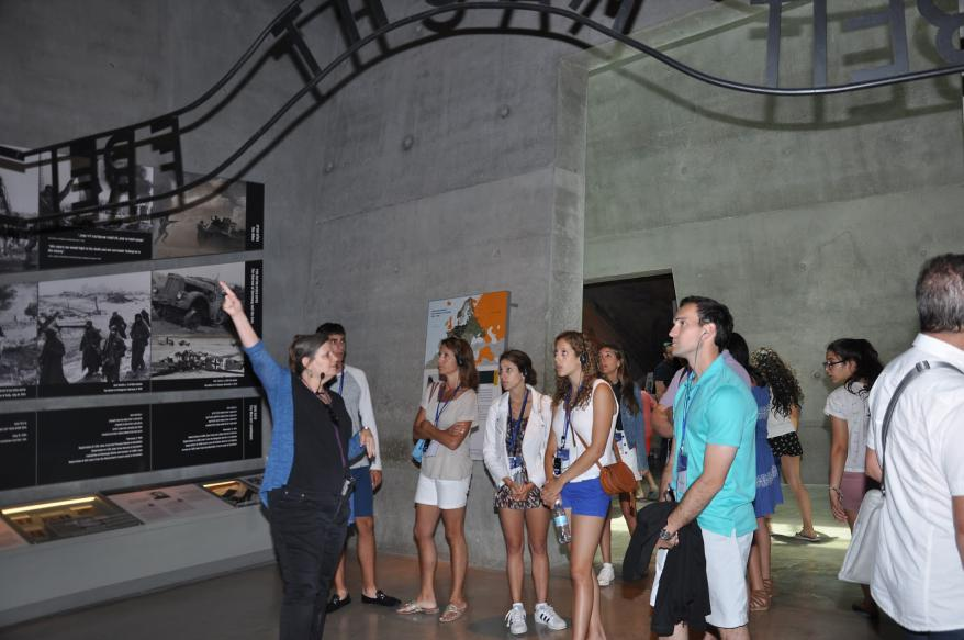 A group of young participants in the Leadership  Mission tour the Holocaust History Museum at Yad Vashem