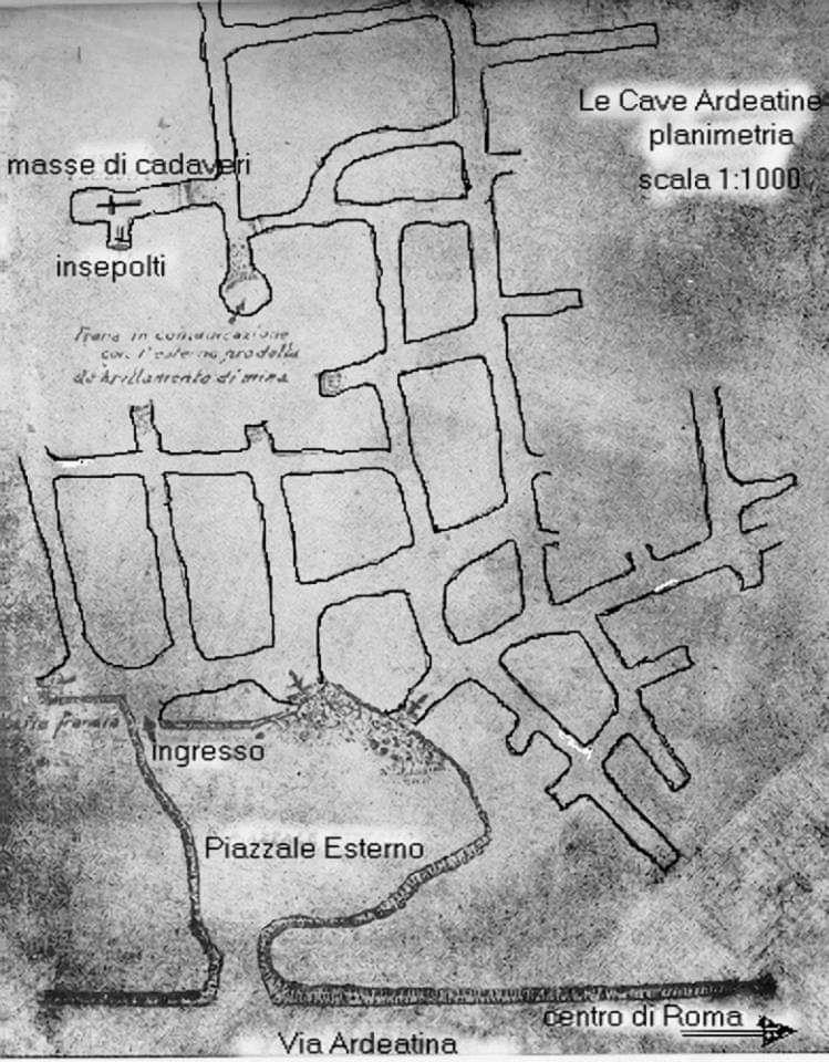 Map of the area of the Fosse Ardeatine quarry