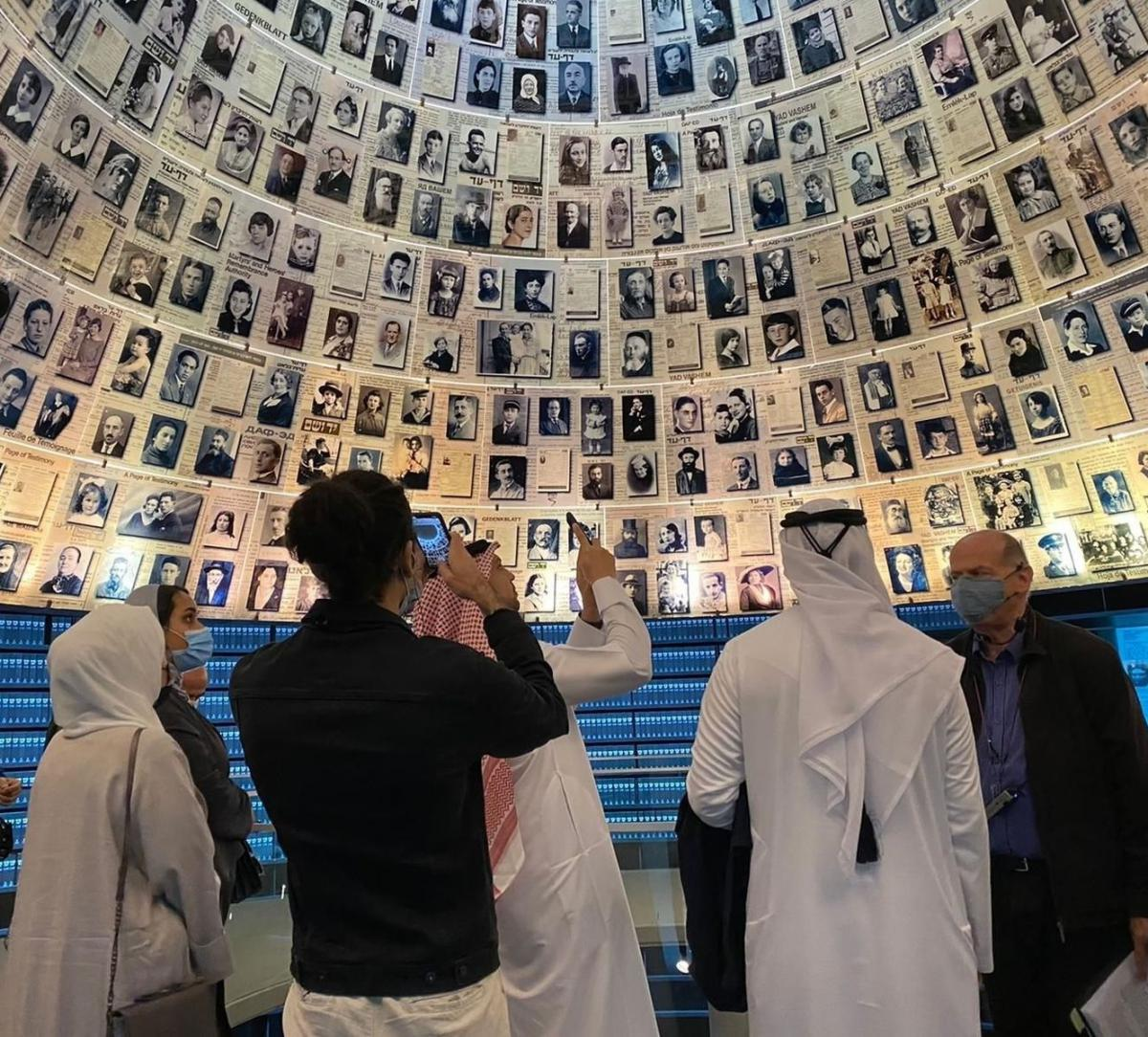 Members of the UAE/Bahraini delegation in the Hall of Names at Yad Vashem