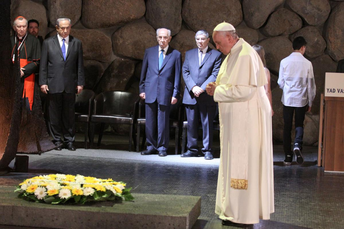 Pope Francis during a moment of silence following the wreath laying in memory of the six million Jews murdered in the Holocaust