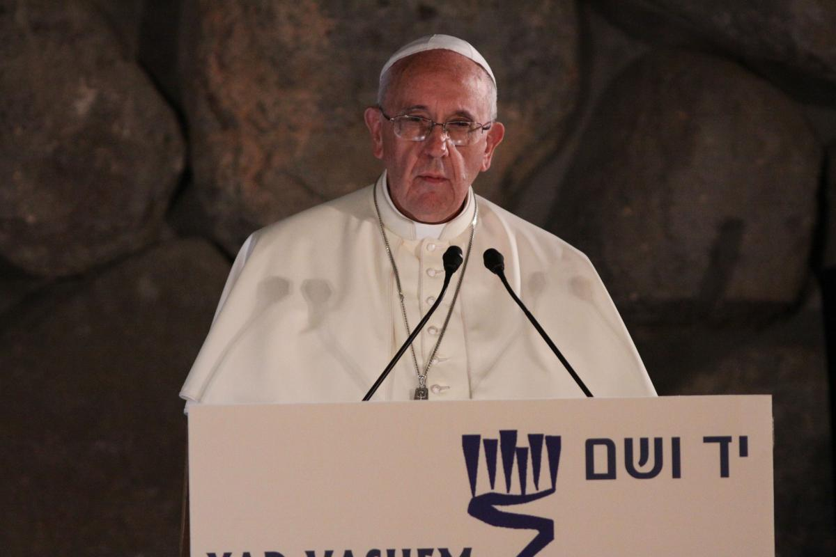 Pope Francis delivers his address during the ceremony