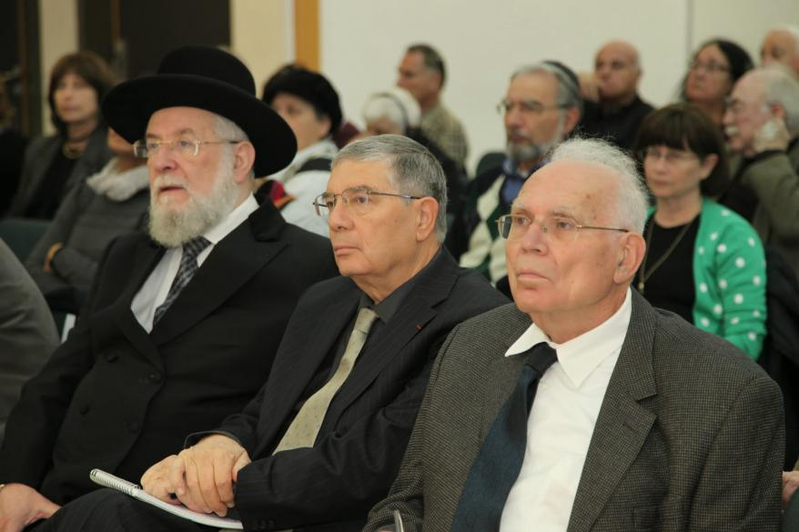 From left to right: Chairman of the Yad Vashem Council Rabbi Israel  Meir Lau, Chairman of the Yad Vashem Directorate Avner Shalev  and Chairman of the Executive Committee, Claims Conference  Ambassador Reuven Merhav