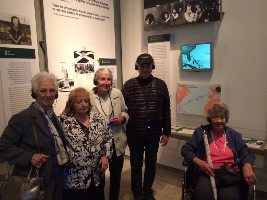Survivors of the SS St. Louis viewing the exhibit of the  St. Louis in the Yad Vashem Holocaust  History Musuem