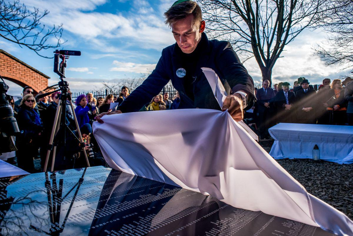 Olympian Kayaker Dariusz Popiela at the consecration of the memorial site in the renovated Jewish cemetery in Grybow, Poland