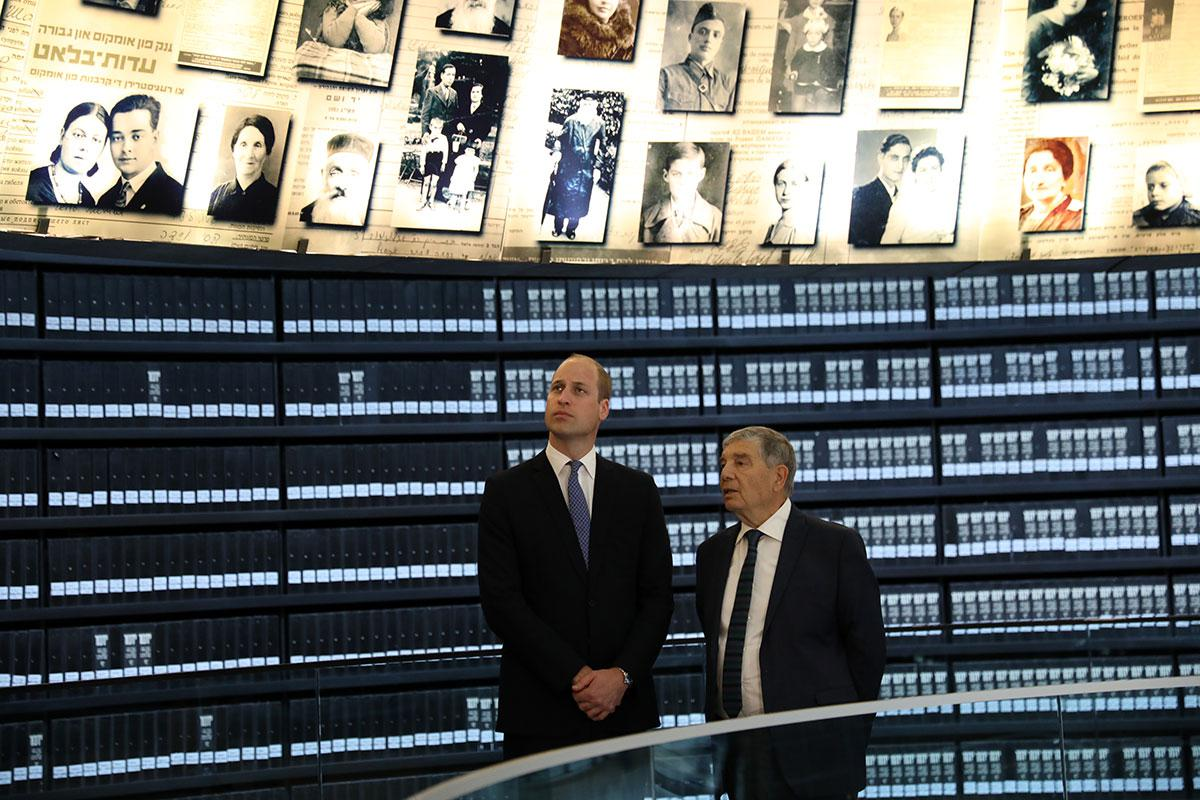 HRH Prince William, the Duke of Cambridge and Avner Shalev, Chairman of Yad Vashem in the Hall of Names - a memorial to the six million Jewish men, women and children murdered during the Holocaust