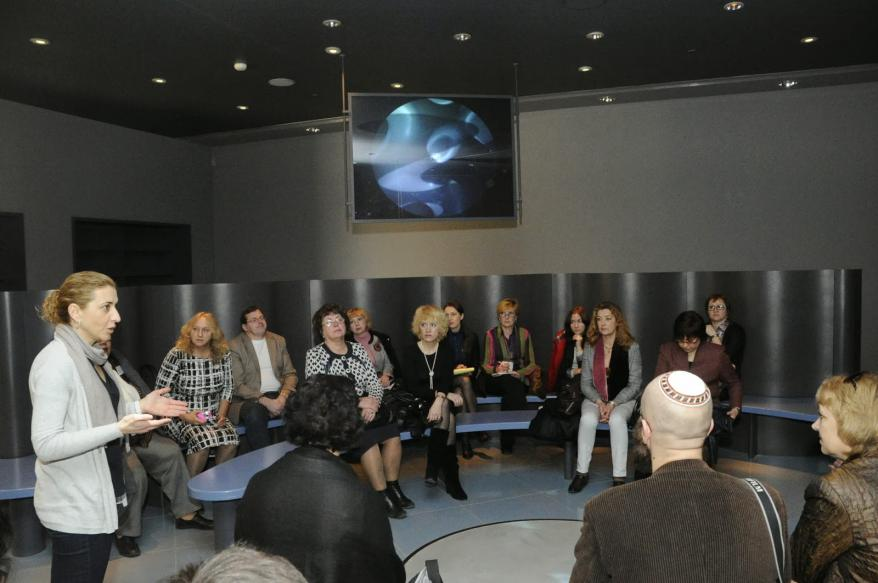 The group of museum directors, educators and researchers in the Learning Center – Reflections After the Holocaust, Yad Vashem
