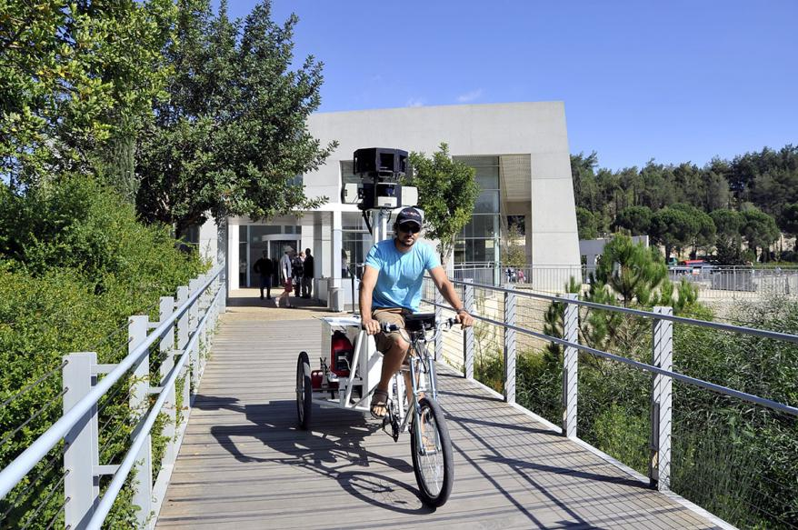 Google's Streetview Trike capturing images by the entrance to the Holocaust History Musuem, Yad Vashem