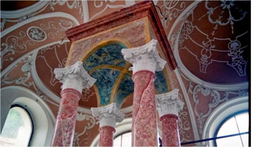 The architecture inside one of the central European synagogues from  the Dorfman collection