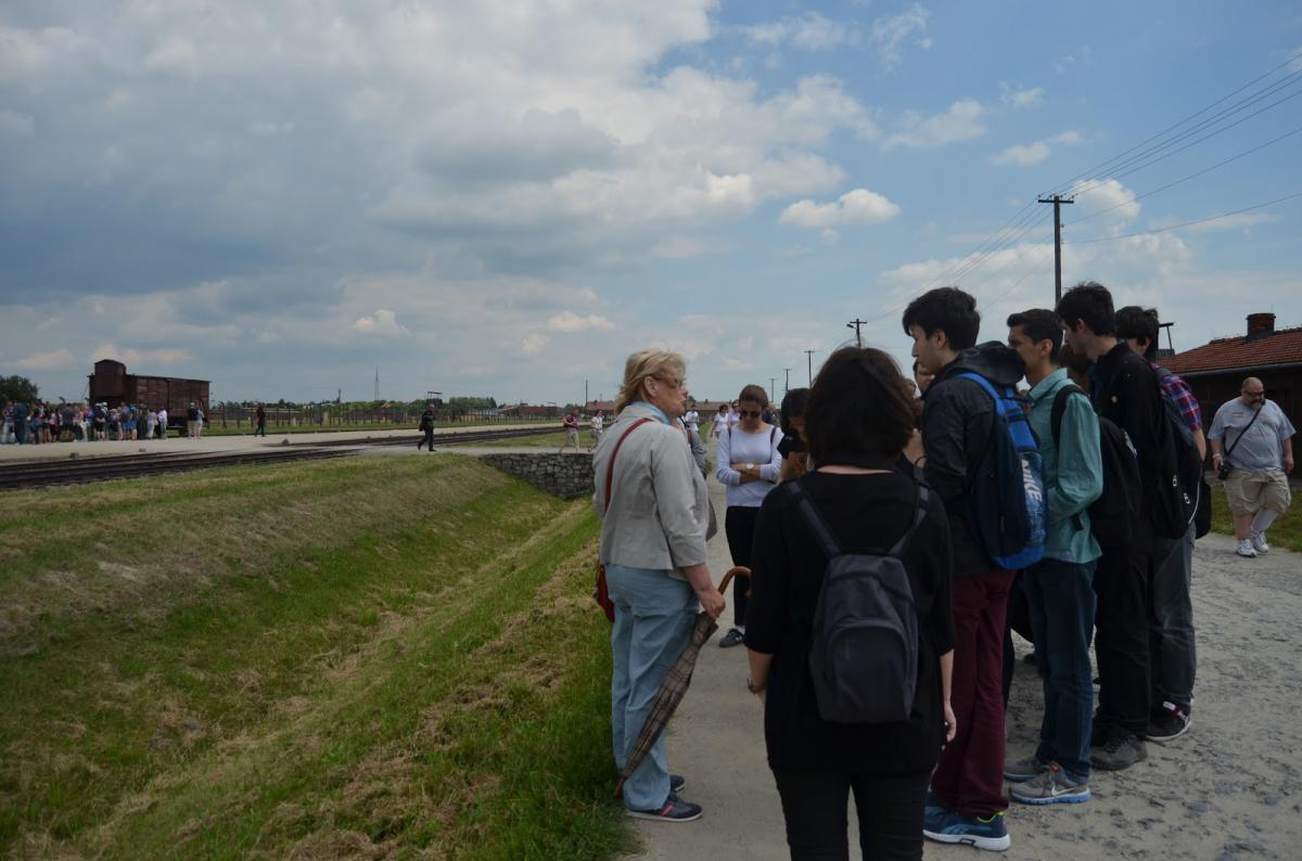 James McMillian's students during a trip to Auschwitz-Birkenau