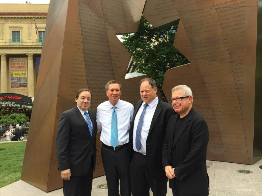 From left to right: S. Isaac Mekel, Development Director of the American Society for Yad Vashem, Governor John Kasich of Ohio, Yaron Sideman, Israel's Consul General to the mid-Atlantic region and architect Daniel Libeskind