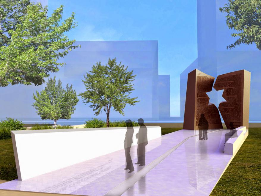 A computer generated image of the Holocaust and Liberators Memorial at the Ohio Statehouse in Columbus
