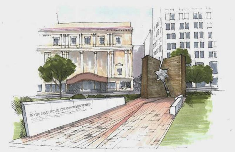 A sketch of the Holocaust and Liberators Memorial at the Ohio Statehouse in Columbus