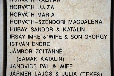 Imre Irsay, his wife and son György inscribed on the Wall of Honor in the Garden of the Righteous at Yad Vashem