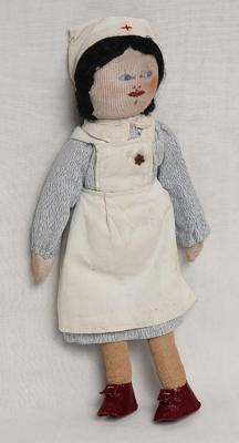 Doll dressed as a nurse, apparently representing Alice Randt, who was deported from Hannover to Theresienstadt and survived