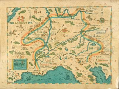 "A map showing ""The Trail of the Rainbow "" – the route taken by the 42nd Infantry Rainbow Division of the American Army through Europe. It is covered with messages from the soldiers to Marcel."