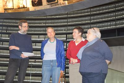 Shalhevet Sara Ziv and Tatiana Zuckerman with Alexander Avram, Hall of Names Director and Sima Velkovich, Yad Vashem researcher (March 2015)